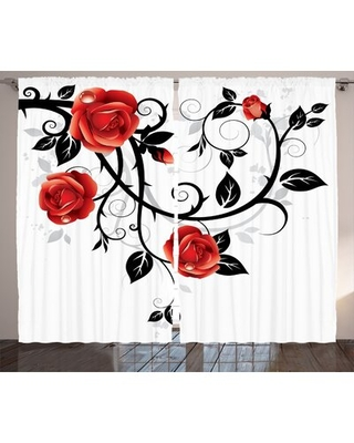 """Gothic Floral Room Darkening Rod Pocket Curtain Panels East Urban Home Size per Panel: 54"""" x 90"""""""