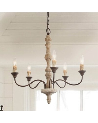 Boler 5 - Light Candle Style Classic Chandelier with Wood Accents