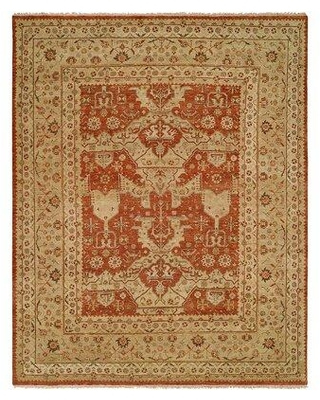 World Menagerie Pilika Oriental Hand Knotted Wool Rust/Beige Area Rug, Wool in Ivory/Cream, Size Rectangle 10' x 14' | Wayfair