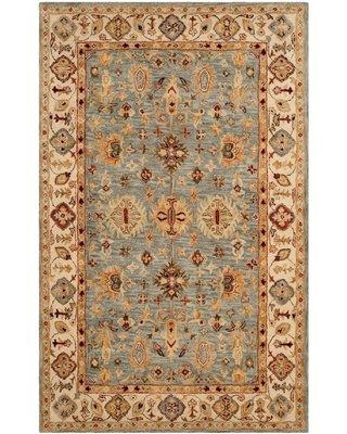 Three Posts Ashville Hand-Tufted Wool Blue/Ivory/Red Area Rug THRE6842 Rug Size: Rectangle 6' x 9'