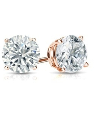 Round 1ctw Lab Grown Diamond Stud Earrings 14k Gold by Ethical Sparkle (Rose)