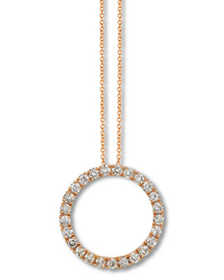 Le Vian Diamond Circle Necklace 1-1/3 ct tw 14K Strawberry Gold