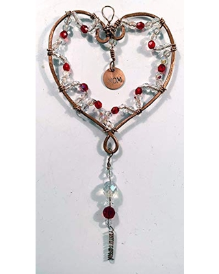 Savings On Heart Shaped Copper Wire Is Shaped Manipulated And Decorated With Glass Beads And An Embossed Copper Tag With The Word Mom