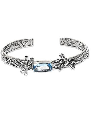 Artisan Crafted Blue Topaz 925 Sterling Silver Dragonfly Cuff Bracelet