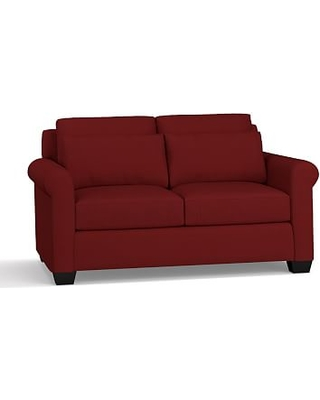 """York Roll Arm Upholstered Deep Seat Loveseat 64"""", Down Blend Wrapped Cushions, Twill Sierra Red"""