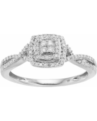 Hallmark Love Found Us Sterling Silver 1/4 Carat T.W. Diamond Square Halo Ring, Women's, Size: 7, White