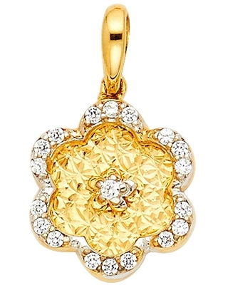 Curata 14k Gold Flower Pendant Necklace 11x11mm Jewelry Gifts for Women