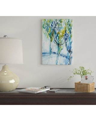 """East Urban Home 'Blue Trees' By Lesia Binkin Graphic Art Print on Canvas EUME1904 Size: 12"""" H x 8"""" W x 0.75"""" D"""