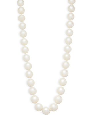 Masako Pearls 11-12MM White Round Pearl and 14K Yellow Gold Necklace
