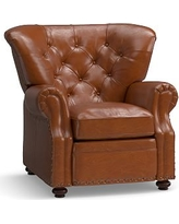 Lansing Leather Recliner, Polyester Wrapped Cushions, Legacy Dark Caramel