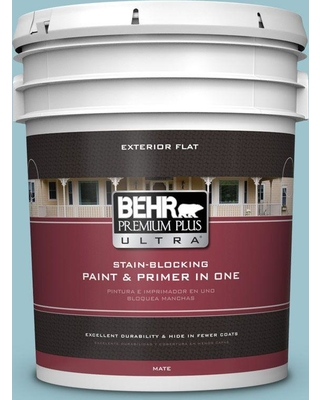 BEHR ULTRA 5 gal. #ICC-99 Alluring Blue Flat Exterior Paint and Primer in One