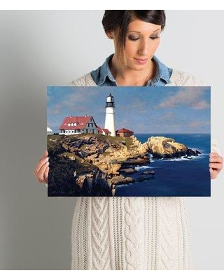 """East Urban Home Coastal Lighthouse Photographic Print on Wrapped Canvas ESTP0891 Size: 12"""" H x 18"""" W x 1.5"""" D"""