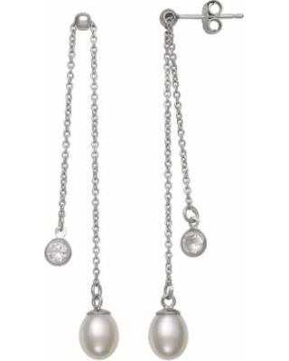 Sterling Silver Freshwater Cultured Pearl & Cubic Zirconia Adjustable Drop Earrings, Women's, White