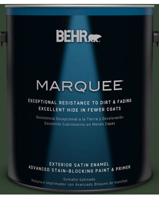 BEHR MARQUEE 1 gal. #ecc-48-3 Lush Grass Satin Enamel Exterior Paint and Primer in One