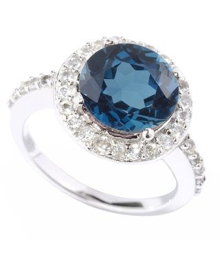Sterling Silver with Natural London Blue Topaz and Natural White Topaz Halo Ring (December - 8)