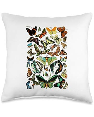 Scientific entomology butterfly Vintage Butterfly Collection Scientific Throw Pillow, 16x16, Multicolor
