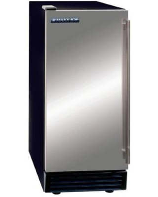 """MIM50 15"""" Self-Contained Ice Maker with up to 50 lb Daily Ice Production Stainless Steel Exterior Reversible Stainless Steel Door and Air-Cooled"""