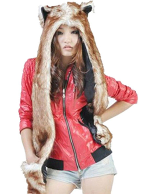 Milanoo Faux Fur Hats White Fluffy Animal Ears Hood Paws Winter Mitten Scarfs