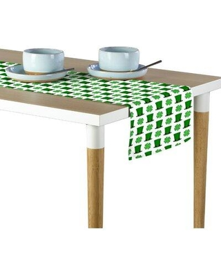 """East Urban Home St. Patrick's Day Top Hats Shamrocks Table Runner W001164882 Size: 108"""" x 14"""""""