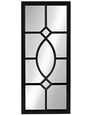 Kate and Laurel Cassat Modern Casual Window Wall Accent Mirror, Black