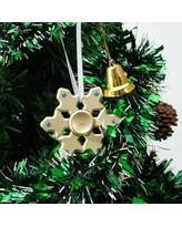 MatashiCrystal Christmas Tree Snowflake Spinner Shaped Ornament with Crystal MTSP3141 Color: Gold