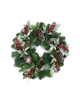 """24"""" Pre-Decorated Frosted Pine Cone and Red Berry Artificial Christmas Wreath - Unlit"""