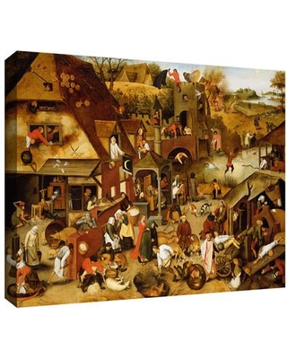 """ArtWall 'The Flemish Proverbs' by Pieter Bruegel Painting Print on Wrapped Canvas Bruegel-002-14x18-w Size: 36"""" H x 48"""" W"""