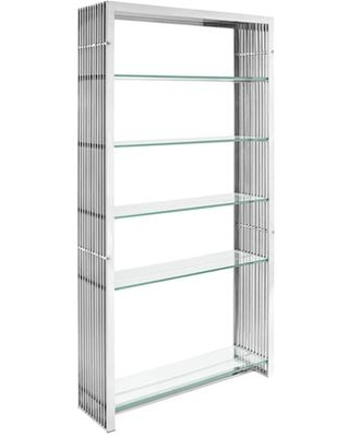 "Gridiron Collection 39"" EEI-1432-SLV Bookshelf with Five Tempered Glass Shelves Modern Style and Stainless Steel Construction in Silver"