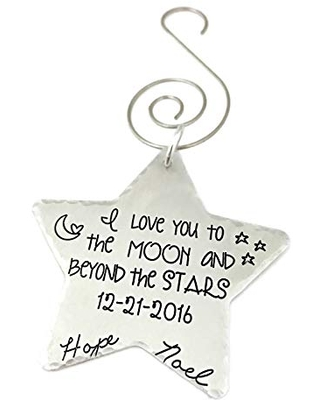 I Love You to the Moon and Beyond the Stars Christmas Ornament - Hand Stamped Jewelry - Personalized Jewelry