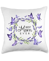 Wild Honey Collections Best Mom Ever Purple Butterflies Lavender Wreath Throw Pillow, 18x18, Multicolor
