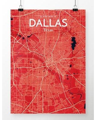 """OurPoster.com 'Dallas City Map' Graphic Art Print Poster in Nautical OP-DFW Size: 17"""" H x 11"""" W"""
