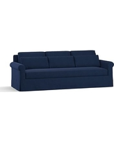 "York Roll Arm Slipcovered Deep Seat Grand Sofa 98"" with Bench Cushion, Down Blend Wrapped Cushions, Performance Everydayvelvet(TM) Navy"