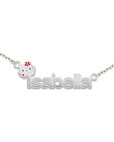 Hello Kitty Personalized Girls Sterling Silver and Enamel Name Necklace, One Size , White