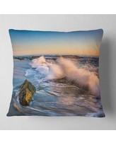 Shopping Special For Designart Crashing Waves At Victoria Beach Seascape Throw Pillow Round 20 Inches Round Large