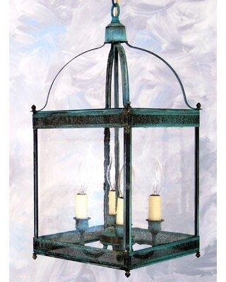 Darby Home Co Chearsley 4 - Light Lantern Geometric Pendant DBHM7549 Fixture Finish: Dark Antique Brass Shade Color: Seeded