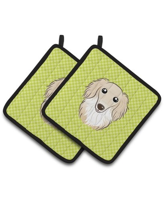Checkerboard Lime Green Longhair Creme Dachshund Pair of Pot Holders