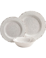 Gibson Studio Line by Laurie Gates Mauna 12 Piece Melamine Dinnerware Set, Ice Rustic