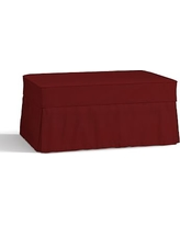 Charleston Slipcovered Ottoman, Polyester Wrapped Cushions, Twill Sierra Red