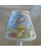 "Silly Bear Lighting Nursery Rhyme 7"" H Fabric Empire Lamp shade ( Screw on ) in Blue/Green, Size 7""H X 11""W X 4""D 