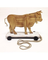 "August Grove Woodard ""Roller Skating Bull"" Wood Pull Toy Statue X111121246"