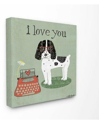 """Ebern Designs I Love You Dog Panoramic Graphic Art Print Set on Canvas W000161317 Format: Wrapped Canvas Size: 17"""" H x 17"""" W x 1.5"""" D"""