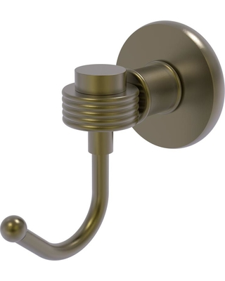Allied Brass Continental Collection Wall-Mount Robe Hook with Groovy Accents in Antique Brass