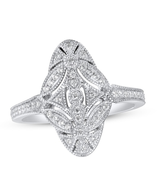 Diamond Ring 1/4 ct tw Round-cut Sterling Silver