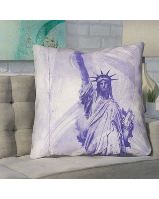"""Brayden Studio Houck Watercolor Statue of Liberty Printed Throw Pillow BYST4672 Size: 28"""" H x 28"""" W"""