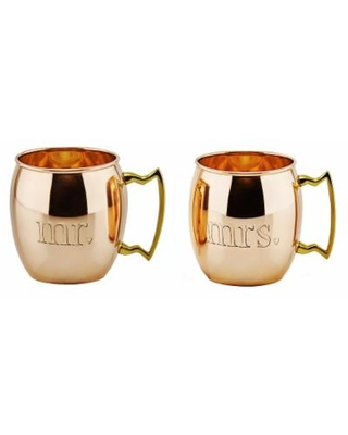 """""""Old Dutch """"Mr"""" and """"Mrs"""" Solid Copper Moscow Mule Mug Set, Clrs, 2 Pc"""""""