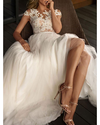 Milanoo wedding dresses 2021 illusion neck short sleeve floor length lace soft tulle beach bridal gowns for boho wedding