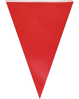 Wrapables Triangle Pennant Banner Party Decorations for Birthday Parties/Baby Showers/Nursery Decor/Picnics and Bake Sales, Red