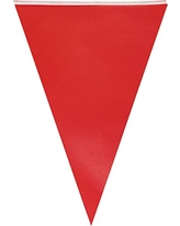Wrapables Triangle Pennant Banner Party Decorations for Birthday Parties, Baby Showers, Nursery Decor, Picnics, and Bake Sales, Red