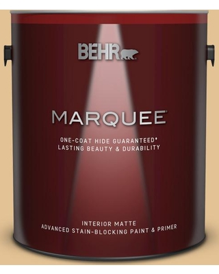 BEHR MARQUEE 1 gal. #310E-3 Ripe Wheat Matte Interior Paint and Primer in One