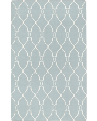 Hand Crafted 5' x 8' Area Rug, Blue/Beige